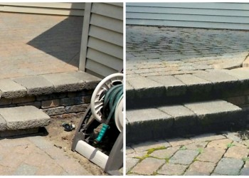 before and after restoration of backyard paver patio