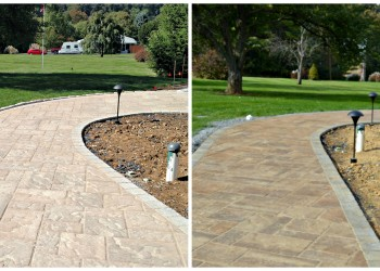 before and after photos using enhanced sealer on a newly installed walkway