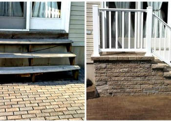 before and after outdoor step installation