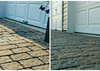 before and after paver restoration for driveway